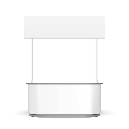 White POS POI Blank Empty Retail Stand Stall Bar Display With Roof, Canopy.