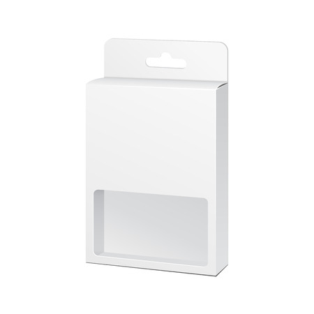 white window: White Product Package Box With Window Illustration Isolated On White Background. Illustration