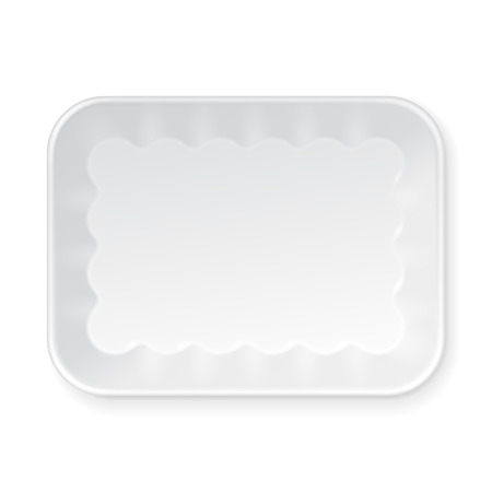packaging box: White Empty Blank Styrofoam Plastic Food Tray Container. Illustration Isolated On White Background. Mock Up Template Ready For Your Design. Vector EPS10 Illustration