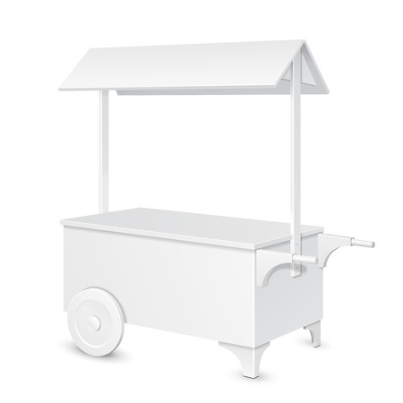 retail display: White POS POI Blank Mobile Transportable Retail Stand Stall Bar Display With Roof, Canopy On Wheels. On White Background Isolated. Mock Up Template Ready For Your Design. Product Packing Vector EPS10
