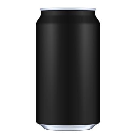 jarra de cerveza: Negro blanco del metal de aluminio para bebida Lata de refresco. Ilustración. Mock encima de la plantilla listo para su diseño. Vector