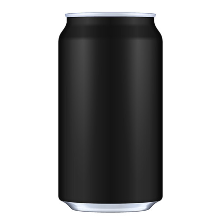 Black Blank Metal Aluminum Beverage Drink Can. Illustration Isolated. Mock Up Template Ready For Your Design. Vector Illustration