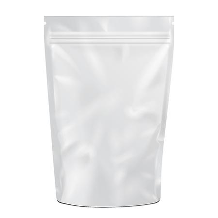 Blanco en blanco de la hoja de Alimentos o beber doy pack de bolsa de envasado. Ilustración sobre fondo blanco. Maqueta, maqueta plantilla lista para su diseño. Vector