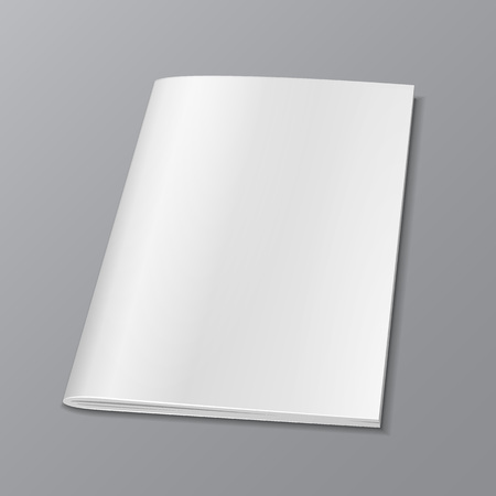 blank magazine: Blank Cover Of Magazine, Book, Booklet, Brochure. Illustration Isolated On Gray Background. Mock Up Template Ready For Your Design. Vector