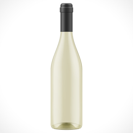 condensation on glass: Yellow Glass Wine Cider Bottle. Illustration Isolated On White Background. Mock Up Template Ready For Your Design. Product Packing Vector  . Isolated.