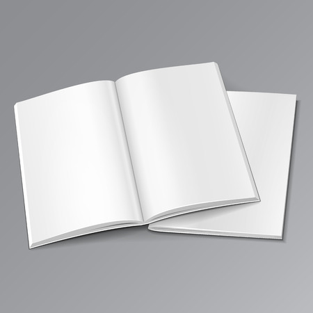 blank magazine: Blank Two Opened Magazine, Book, Booklet, Brochure Cover. Illustration Isolated On Gray Background. Mock Up Template Ready For Your Design. Vector Stock Photo