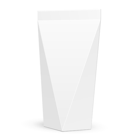 hang up: White Product Package. Gift Box. Doypack. Illustration Isolated On White Background. Mock Up Template Ready For Your Design. Product Packing Vector