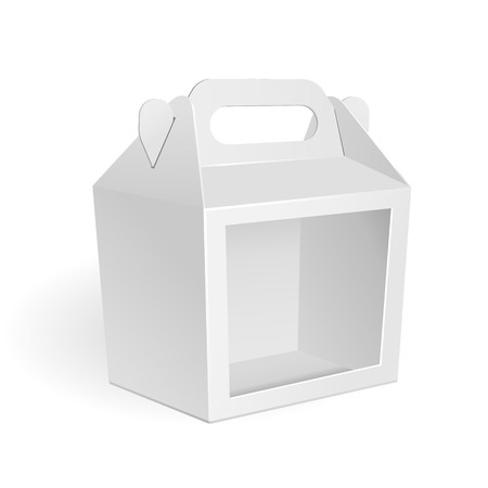 box: White Cardboard Carry Box Packaging Window For Food, Gift Or Other Products. On White Background Isolated. Mock Up, Mockup Template Ready For Your Design. Vector Illustration