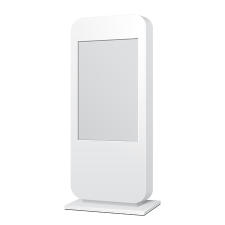 citylight: Outdoor White POS POI Citylight Lightbox Advertising Stand. Illustration Isolated On White Background. Mock Up Template Ready For Your Design. Vector