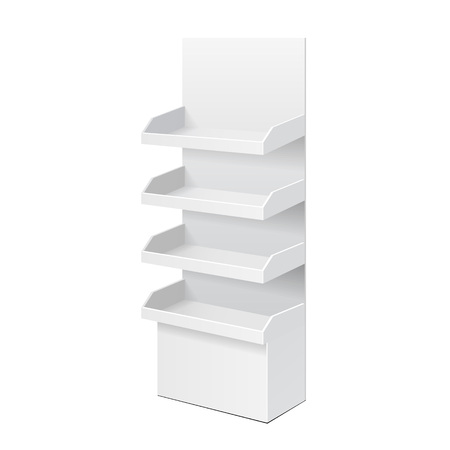 poi: White POS POI Cardboard Blank Empty Displays With Shelves Products. On White Background Isolated. Mock Up Template Ready For Your Design. Product Packing Vector