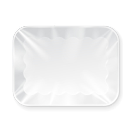 veggie tray: White Empty Blank Styrofoam Plastic Food Tray Container. Illustration Isolated On White Background. Mock Up Template Ready For Your Design. Vector Stock Photo