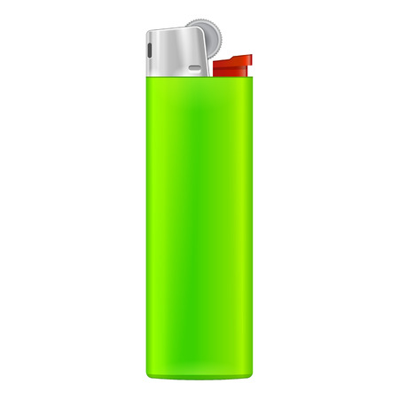flint: Green Blank Cigarette Lighter. On White Background Isolated. Mock Up Template Ready For Your Design. Product Packing Vector