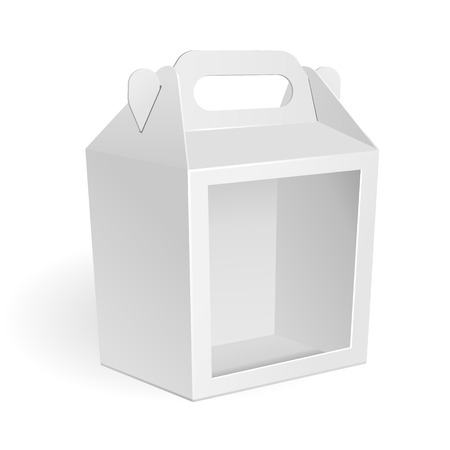 chinese food container: White Cardboard Carry Box Packaging Window For Food, Gift Or Other Products. On White Background Isolated. Mock Up, Mockup Template Ready For Your Design. Vector Illustration