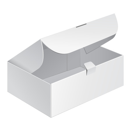 Opened White Product Cardboard Package Box. Illustration Isolated On White Background. Mock Up Template Ready For Your Design. Vector