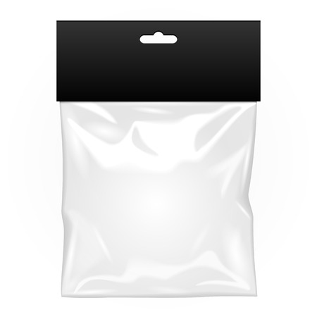 sachet: White Black Blank Plastic Pocket Bag. Transparent. With Hang Slot. Illustration Isolated On White Background. Mock Up Template Ready For Your Design. Vector