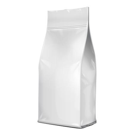 Folia Papier Food Bag Opakowanie kawy, sól, cukier, pieprz, przyprawy lub Mąka Składane, szarości. Na białym tle. Mock Up szablon gotowy projekt. Pakowanie produktów Wektor