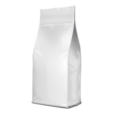 Foil Paper Food Bag Package Of Coffee, Salt, Sugar, Pepper, Spices Or Flour, Folded, Grayscale. On White Background Isolated. Mock Up Template Ready For Your Design. Product Packing Vector