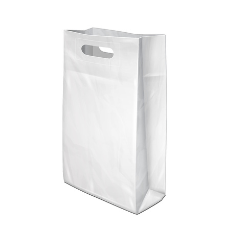paper product: Disposable Paper Or Plastic Shopping Bag With Handles Package Grayscale White. Illustration Isolated On White Background. Mock Up Template Ready For Your Design. Product Packing Vector