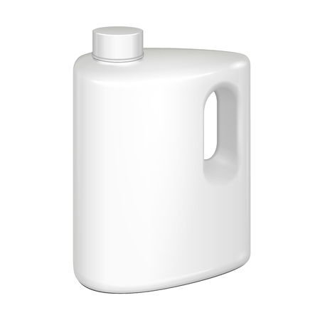 cleanser: White Plastic Jerrycan Oil, Cleanser, Detergent, Abstergent, Liquid Soap, Milk, Juice. Illustration Isolated On White Background. Mock Up Template Ready For Your Design. Vector