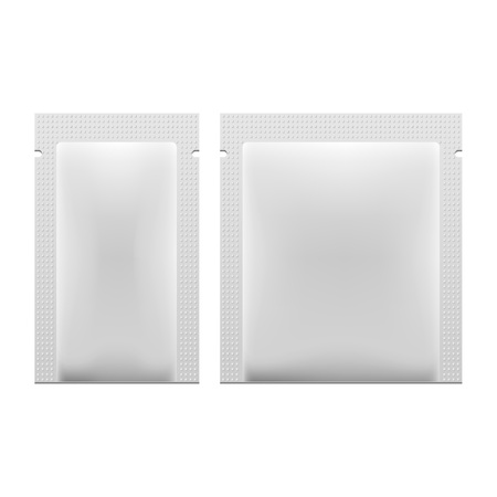 sachet: White Blank Retort Foil Packaging Medicine Drugs Or Coffee, Salt, Sugar, Pepper, Spices, Sachet, Sweets, Candy Or Condom. Isolated Mock Up Template Ready For Your Design. Product Packing Vector Illustration