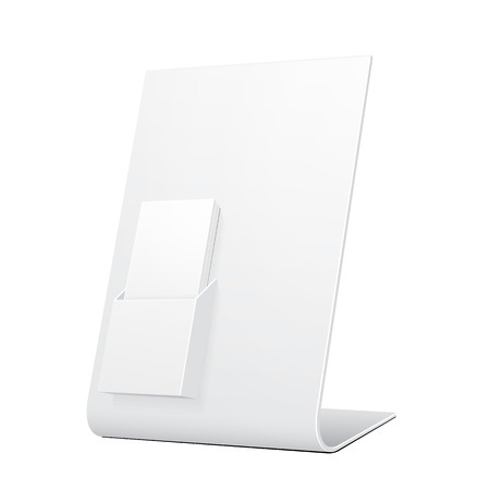 poi: White POS POI Cardboard Blank Empty Show Box Holder For Advertising Fliers, Leaflets Or Products. Illustration Isolated On White Background. Mock Up Template Ready For Your Design. Vector