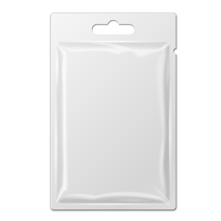 blister: White Product Package Box Blister With Hang Slot. Illustration Isolated On White Background. Mock Up Template Ready For Your Design. Product Packing Vector