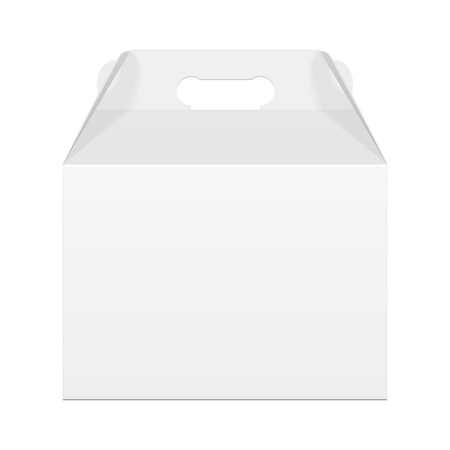 White Cardboard Carry Box Packaging For Food, Gift Or Other Products. On White Background Isolated. Mock Up, Mockup Template Ready For Your Design. Vector