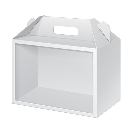 White Cardboard Carry Box Packaging Window For Food, Gift Or Other Products. On White Background Isolated. Mock Up, Mockup Template Ready For Your Design. Vector Stock Illustratie