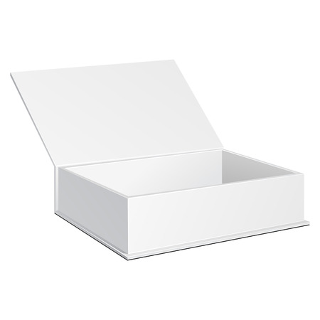 box design: Opened White Cardboard Package Box. Gift Candy. On White Background Isolated. Mock Up Template Ready For Your Design. Product Packing Vector