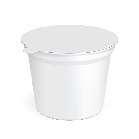 yogurt ice cream: White Food Plastic Tub Bucket Container For Dessert, Yogurt, Ice Cream, Sour Cream Or Snack. Illustration Isolated On White Background. Mock Up Template Ready For Your Design. Product Packing Illustration
