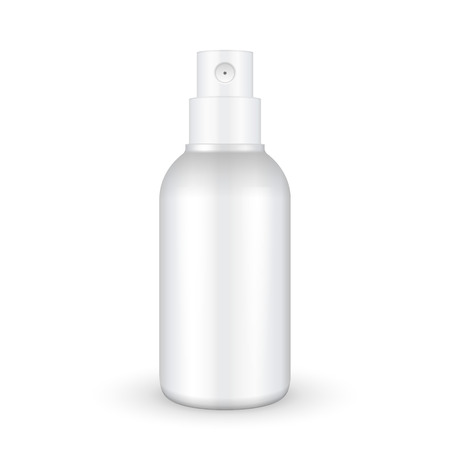 Spray Cosmetic Parfume, Deodorant, Freshener Or Medical Antiseptic Drugs Plastic Bottle White. Ready For Your Design. Product Packing Vector 일러스트