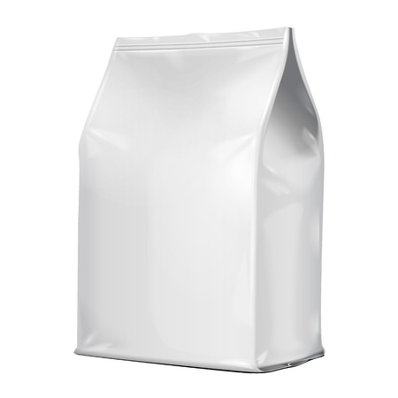 White Blank Foil Food Or Drink Doypack Bag Packaging. Illustration Isolated On White Background. Mock Up Template Ready For Your Design. Vector 일러스트