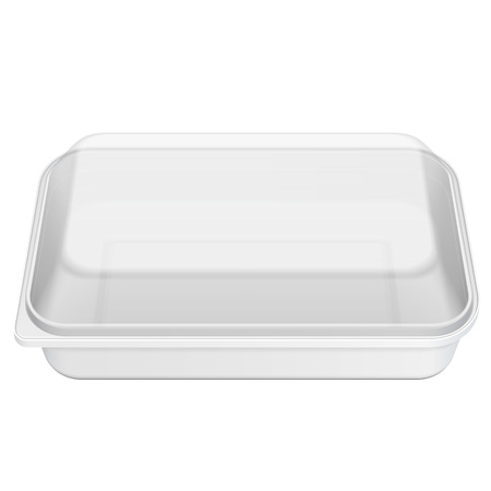White Empty Blank Styrofoam Plastic Food Tray Container Box, Cover. Illustration Isolated On White Background. Mock Up Template Ready For Your Design. Vector