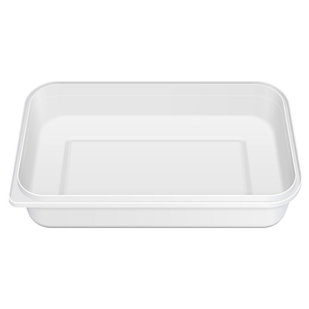 White Empty Blank Styrofoam Plastic Food Tray Container Box Opened, Cover. Illustration Isolated On White Background. Mock Up Template Ready For Your Design. Vector Vettoriali