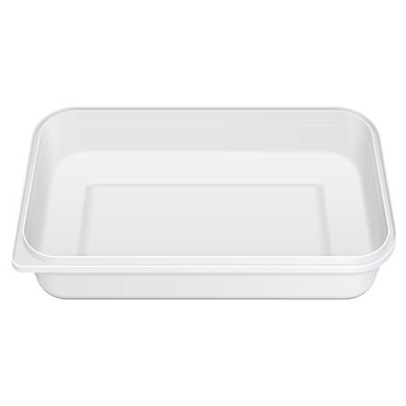 Blanca espuma de poliestireno blanco vacíos de plástico para alimentos bandeja con caja abierta, cubierta. Ilustración sobre fondo blanco. Mock encima de la plantilla listo para su diseño. Vector Ilustración de vector