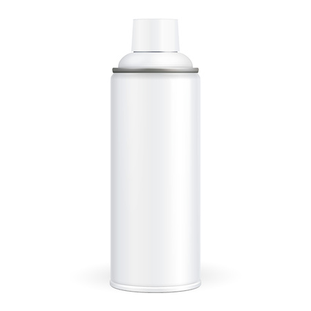 White Paint Aerosol Spray Metal 3D Bottle Can 일러스트