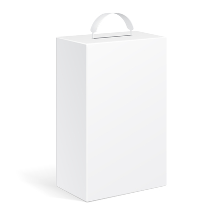 White Product Package Box With Handle Illustration Isolated On White Background. Mock Up Template Ready For Your Design. Product Packing Vector EPS10