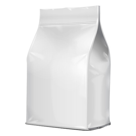 White Blank Foil Food Or Drink Doypack Bag Packaging. Illustration Isolated On White Background. Mock Up Template Ready For Your Design. Vector EPS10