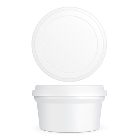 milk pail: White Food Plastic Tub Bucket Container For Dessert, Yogurt, Ice Cream, Sour Cream Or Snack. Illustration Isolated On White Background. Mock Up Template Ready For Your Design. Product Packing Illustration