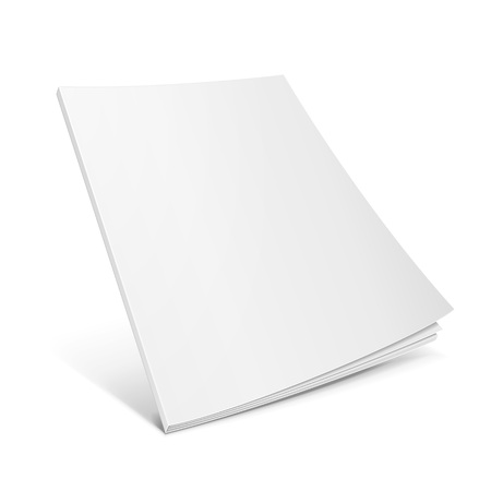 open magazine: Blank Flying Cover Of Magazine, Book, Booklet, Brochure. Illustration Isolated On White Background. Mock Up Template Ready For Your Design. Vector EPS10