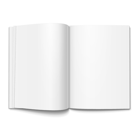 open magazine: Blank Opened Magazine, Book, Booklet, Brochure Cover. Illustration Isolated On White Background. Mock Up Template Ready For Your Design. Vector EPS10 Illustration