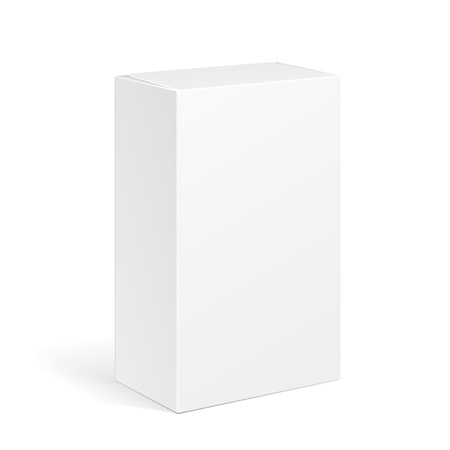 White Product Cardboard Package Box. Illustration Isolated On White Background. Mock Up Template Ready For Your Design. Vector EPS10 일러스트