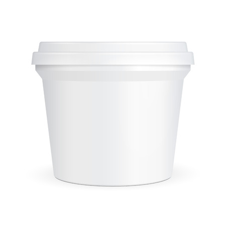 White Food Plastic Tub Bucket Container For Dessert, Yogurt, Ice Cream, Sour Cream Or Snack. Illustration Isolated On White Background. Mock Up Template. Product Packing Vector