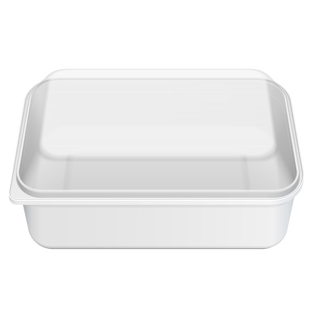 White Empty Blank Styrofoam Plastic Food Tray Container Box With Lid, Cover. Illustration Isolated On White Background. Mock Up Template Ready For Your Design. Vector EPS10