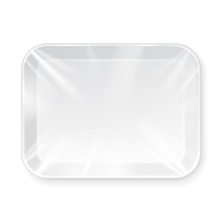 White Empty Blank Styrofoam Plastic Food Tray Container. Illustration Isolated On White Background. Mock Up Template Ready For Your Design. Vector EPS10 일러스트