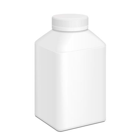 White Short Yogurt Milk Square Plastic Bottle. Illustration Isolated On White Background. Mock Up Template Ready For Your Design. Vector EPS10