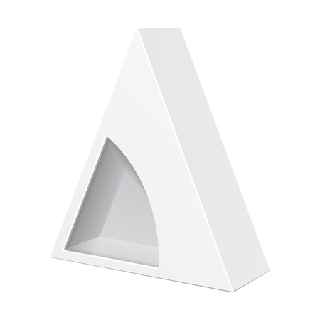 White cardboard triangle box packaging for food gift or other vector white cardboard triangle box packaging for food gift or other products with window illustration isolated on white background mock up template maxwellsz