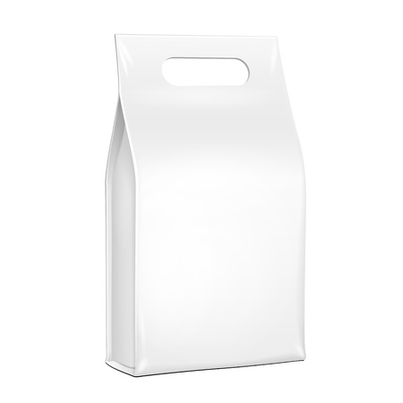 consume: White Plastic, Foil Paper Food Bag Package Of Coffee, Spices Or Flour. Grayscale. Illustration Isolated On White Background Handle. Mock Up Template Ready For Your Design. Product Packing Vector EPS10 Illustration