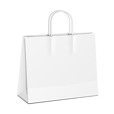 paper product: Carrier Paper Bag White. Illustration Isolated On White Background. Mock Up Template Ready For Your Design. Product Packing Vector EPS10 Illustration