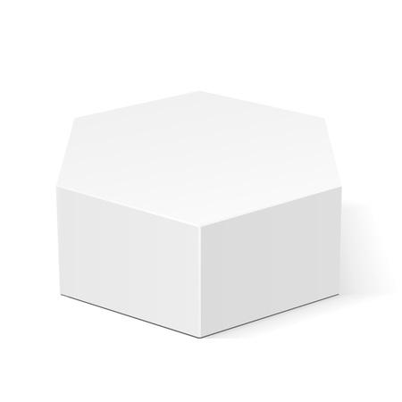白段ボール六角ボックス食品、ギフトまたは他の製品の包装。白い背景で隔離の図。あなたのデザインのテンプレートの準備ができてのモックを作
